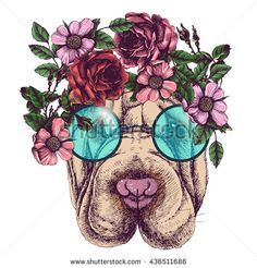 Hippie sharpei in the roses wreath and round sunglasses. Chic dog portrait. Fashion vector illustration for your blog, logo and other design. - stock vector