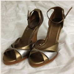 """Bakers """"Marcia"""" Peep Toe Wedges 🌟BRAND NEW🌟 Never been worn bronze peep toe wedges with ankle strap! Box not included. Bakers Shoes"""