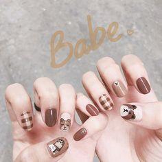 38 Ideas Nails Acrylic Designs Tips Simple Pretty Nail Art, Cute Nail Art, Cute Nails, Cute Acrylic Nails, Acrylic Nail Designs, Nail Art Designs, Stylish Nails, Trendy Nails, Korean Nail Art