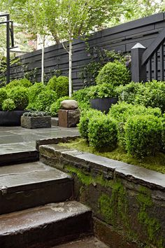 This dark back patio covered with dreamy moss make us so excited for hazy summer evenings filled with friends and family. Landscape Architecture, Landscape Design, Garden Design, Townhouse Garden, Small Courtyards, Garden Styles, Dream Garden, Garden Projects, Garden Inspiration