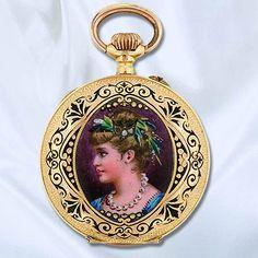Victorian Ladies 18k Yellow Gold, Enamel And Diamond Hunter Case Pocket Watch  c. 1890