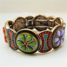 Bracelet Stretch Colorful Multi-Color Inlay - Classic Legacy