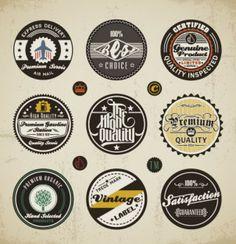 Logos: Round vintage styling.