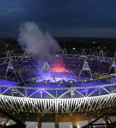 The Olympic Stadium is seen during the opening ceremony of the London 2012 Olympic Games July 27, 2012.