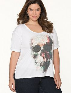 Flattering high-low tee hits the trends with a blocky skull print and rolled short sleeves. #LaneBryant