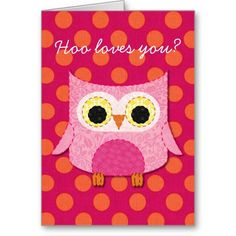 Pink Owl Valentine's Day Card