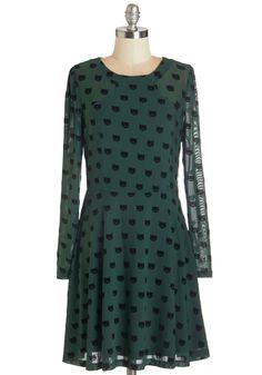Miss Whiskers Dress. We love a lady who can sport a good cat print, like the velvety kitties dotting this forest-green dress! #green #modcloth