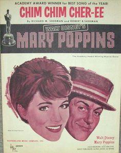 "Walt Disney 1963 Mary Poppins "" Chim Chim Cher-ee "" Vintage Sheet Music"
