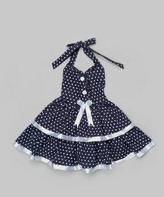 Love this Black & White Polka Dot Halter Dress - Toddler & Girls on #zulily! #zulilyfinds