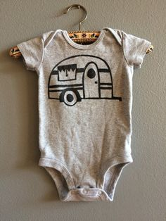 Get your baby geared up for your next camping trip in this cute 3M (Carters brand) grey camper onesie. Hand made stamp