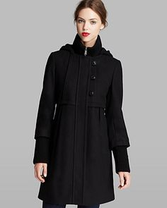 DKNY Coat - Colby Hooded Empire Waist   Bloomingdale's