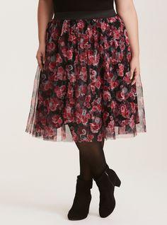 Disney Princess Floral Print Tulle Skirt, MULTI