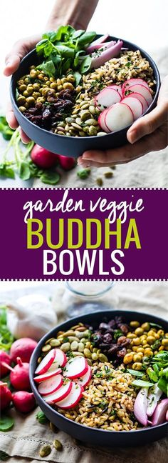 Nourishing Garden Veggie Vegan Buddha Bowl! This wholesome gluten free Buddha bowl recipe is filled with superfood ingredients that satisfy you and keep you healthy!