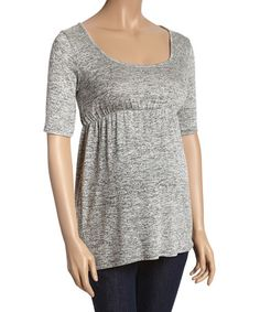 Look what I found on #zulily! Gray & Black Maternity Scoop Neck Top - Women #zulilyfinds