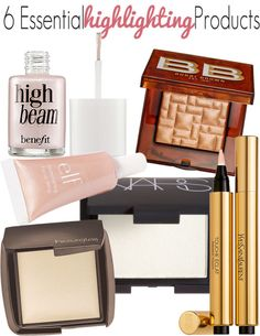 6 Essential Highlighting Products : Benefit Cosmetics High Beam; Hourglass Ambient Lighting Powder; Bobbi Brown Bronze Glow Highlighting Powder; YSL Touche Éclat;  NARS Highlighting Blush Powder in Albatross; e.l.f. Essential Shimmering Facial Whip