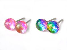Cherry Bomb Glitter Glass Stud Earrings, Tiny 5mm Hypoallergenic Studs, Pure Titanium Posts, Surgical Steel, Irredescent Sparkle, Canadian by Resiness on Etsy Handmade Items, Handmade Jewelry, Alcohol Ink Painting, Homemade Candies, Home Decor Items, Integrity, Light In The Dark, Colorful Backgrounds, Hand Knitting