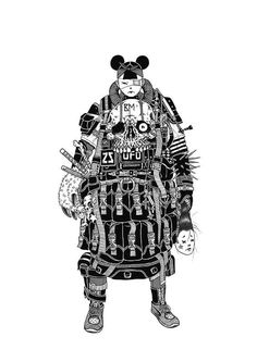 """Hong Kong-born, Australia-based artist Gerald Leung illustrates under the moniker """"Brack Metal."""" The artist's intricate style seems to take notes from both manga and American comics, surrealism, ta… Character Concept, Character Art, Character Design, Ink Illustrations, Illustration Art, Graffiti, Hong Kong, Culture Pop, Robot Concept Art"""