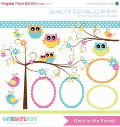 ON SALE  Owls in the Forest Clip Art / Digital by MyClipArtStore