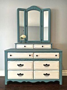 Shabby Chic Blue, White & Black Dresser & Mirror Set - $450 - SOLD #shabbychicdressersblue #shabbychicdresserswhite