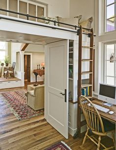Because every dream home needs an awesome place to read&;and hide! Or an emergency spare bed&; Because every dream home needs an awesome place to read&;and hide! Or an emergency spare bed&; Home Office Design, House Design, Loft Design, Design Design, Storage Design, Storage Ideas, Spare Bed, Spare Room, Library Ladder