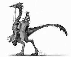 I went with a feathered Gallimimus for todays old western dino rider.