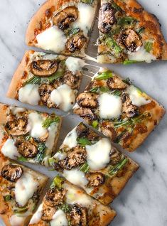 This crimini mushroom flatbread pizza with grilled green onions and tuscan herbs is a must-try recipe!
