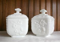 Westmoreland grape beaded milk glass boxes