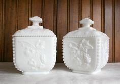 Westmoreland grape beaded milk glass boxes