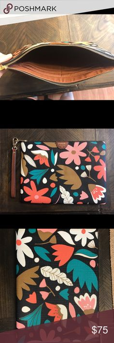Fossil clutch New without tags, never used. Clutch sized, can also fit an iPad mini Fossil Bags Clutches & Wristlets