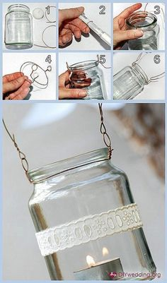 How to hang mason jars with wire. There are so many crafts with mason jars on Pintrest, I guess I should learn how to hang them. Diy Wedding Projects, Easy Diy Projects, Craft Projects, Wedding Ideas, Wedding Inspiration, Crochet Projects, Outdoor Projects, Garden Projects, Garden Tools