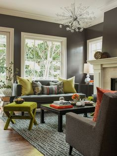 Dark grey with white molding