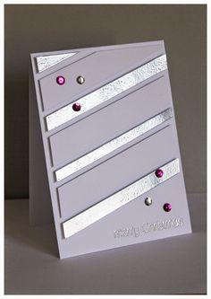 Weihnachtskarte, Silber embosst, Streifen, Christmas-Card, Stripes