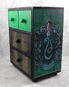 Custom Slytherin Green and Black Harry Potter Stash Jewelry Box by pzcreations22 on Etsy https://www.etsy.com/listing/164435210/custom-slytherin-green-and-black-harry