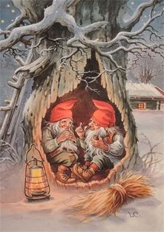 You wont believe these Santa's from all around the world - Christmas Swedish Tomte Woodland Creatures, Magical Creatures, Fantasy Creatures, Christmas Gnome, Christmas Art, Illustrations, Illustration Art, Fairytale Art, Fairy Art