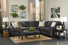"The Alenya 3-Piece Sectional from Ashley Furniture HomeStore (AFHS.com). The sleek style of the track arms along with the boxed seat and back cushions all supported by dark finish legs makes the warm inviting Vintage Casual design of the ""Alenya-Charcoal"" upholstery collection the perfecting addition to the relaxing décor of any living area."