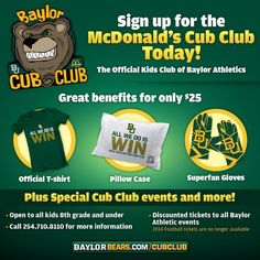 Sign up for the McDonald's Cub Club today! #SicEm #Baylor