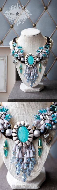 Bitter Sweet Jewellery. Spring Summer 2015. #statementnecklace #blue #pink #bold #turquoise #teardrop #pear