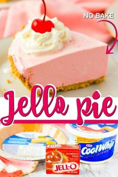 This easy, delicious and creamy Jello Pie is the perfect treat! Grab Cool Whip, Jello and a graham cracker crust because it is shockingly easy to make. Cool Whip Pies, Cool Whip Desserts, Jello Recipes, Sugar Free Desserts, Köstliche Desserts, Baking Recipes, Delicious Desserts, Jello Pie Cool Whip, Sugar Free Cheesecake