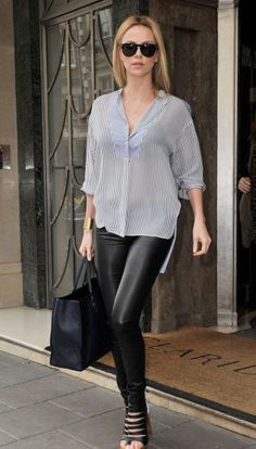 Only this lady can pull off leather pants. I would try but it would probably not look as good!