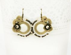 White soutache earrings Hazel earrings white accessory by pUkke
