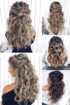 Long half up half down wedding hairstyles from mpobedinskaya wedding weddinghairstyles hairstyles hair 453034043767982331 Half Up Half Down Hair Prom, Wedding Hairstyles Half Up Half Down, Wedding Hair Down, Wedding Hairstyles For Long Hair, Fancy Hairstyles, Wedding Hair And Makeup, Wedding Updo, Bride Hairstyles, Down Hairstyles