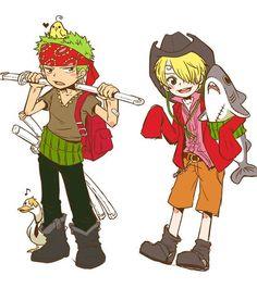 One Piece, Straw Hat Pirates, Zoro, Sanji