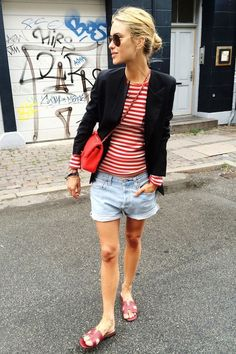 Lipstick Red Bag, denim short, red and white striped top and navy blue blazíer