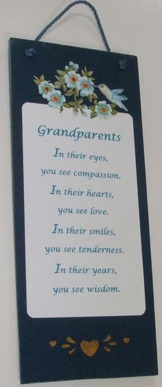 Grandparents Sign home decor Grandparents Poem by mareestreasures 50th Wedding Anniversary Wishes, Anniversary Gifts, 90th Birthday Parties, 50th Party, Fathers Day Captions, Train Up A Child, Footprint Crafts, Grandparents Day, Cute Quotes