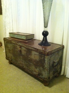 Old army chest, sanded, multiple stains...