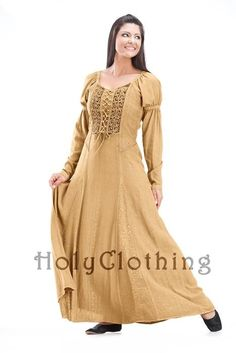Kalila Puff Sleeve Lace-Up Victorian Peasant Corset Dress Gown