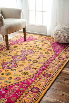 NuLoom Hand Tufted Floral Pamila Goldenrod Rug | Modern Rug by NuLoom at Contemporary Modern Furniture  Warehouse - 2