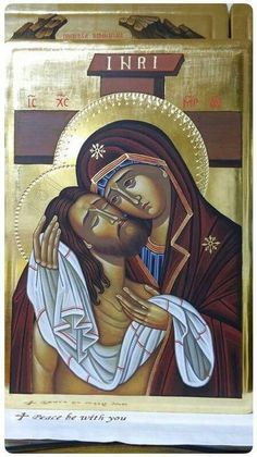 Jesus Christ and Holy Mother Religious Pictures, Religious Icons, Religious Art, Byzantine Art, Byzantine Icons, Religion, Spiritual Paintings, Our Lady Of Sorrows, Christian Artwork