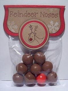 Reindeer Noses -- The 8 brown noses are Malteesers and the red nose (Rudolph's) is bubblegum.