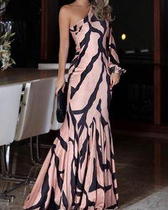 Digital Print One Shoulder Mermaid Dress Evening Dresses, Prom Dresses, Mermaid Dresses, Formal Dresses, Elegant Dresses, Beautiful Dresses, Fishtail Maxi Dress, Trend Fashion, Asymmetrical Dress
